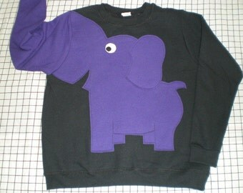 Elephant shirt with a trunk sleeve, black with purple elephant, your choice of size. Adult size elephant sweatshirt. elephant jumper.