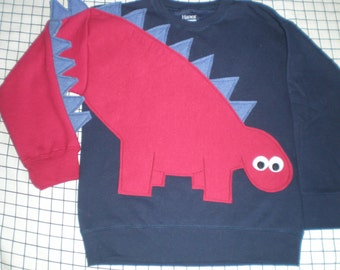 Children's dinosaur shirt in navy with a red dinosaur. Kids dinosaur sweatshirt, size medium or large. Red dinosaur, blue spikes, SPECIAL