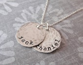 Mommy Necklace with Your Choice of Kids Names, Distressed Sterling Silver Discs, Customize Number of Discs
