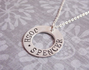 Sterling Silver Circle Washer Necklace with Kids Names Hand Stamped