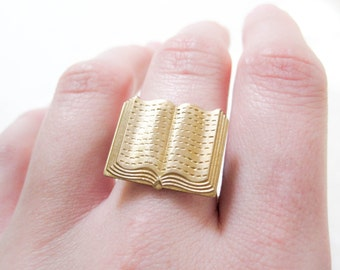 Book Ring ~ Brass Jewelry ~ Novelty Ring ~ Librarian ~ Book Lover ~ Adjustable Ring ~ Book Jewelry ~ Teacher Gift