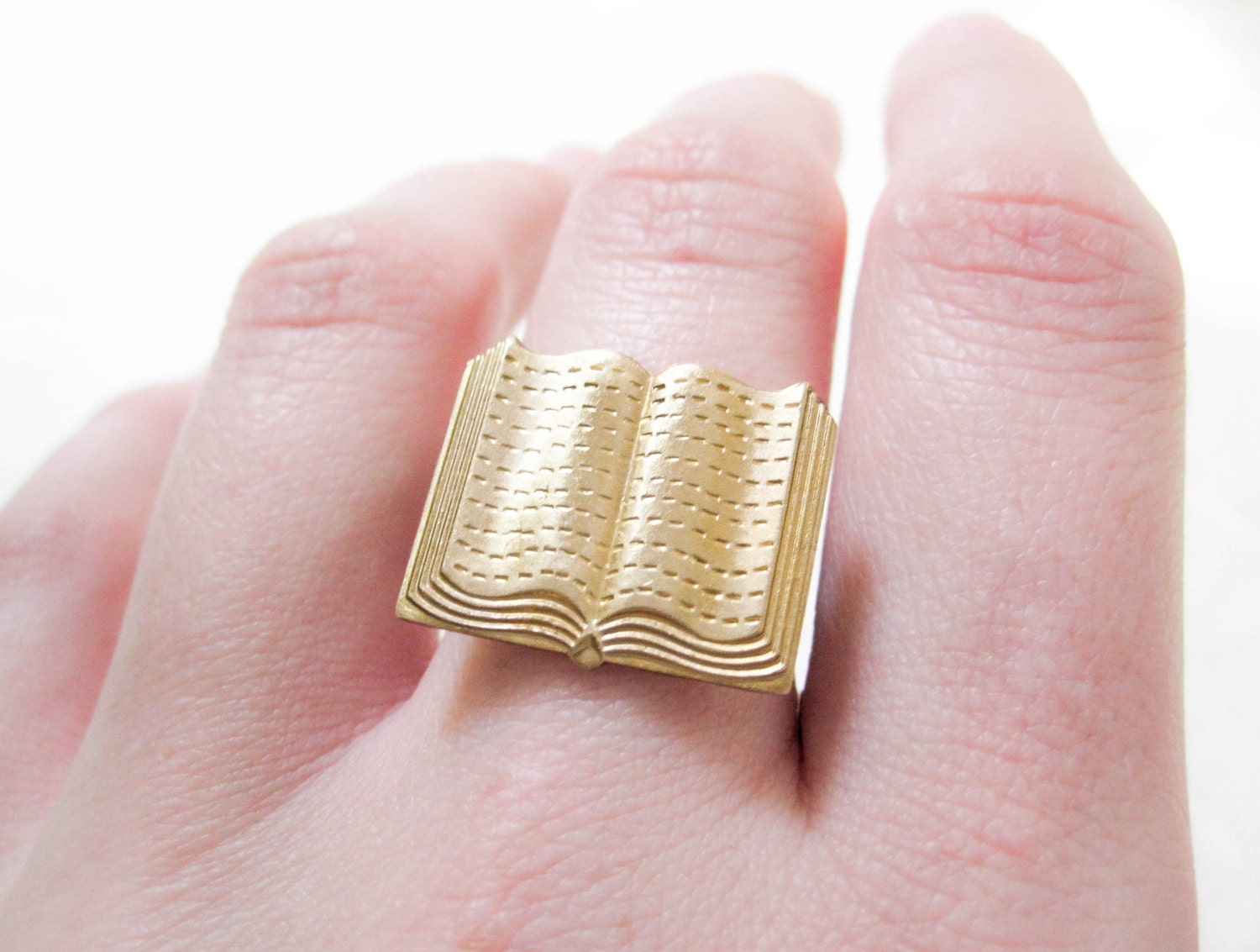 Book Ring Brass Jewelry Novelty Ring Librarian Book
