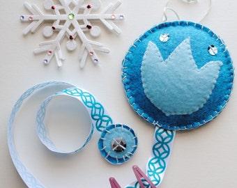 Felt Barrette Organizer Blue Tulip Design ***Made to order***