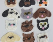 12 Fondant cupcake toppers--cats and dogs