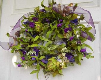 Wreath For The Door , Indoor Wreath , Natural Looking Wreath