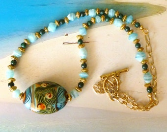 Tropicale Necklace - Ceramic Beach Design Bead Malachite Beads Green Blue Gold