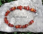 Carnelian Bracelet - Carnelian And Silver - Beaded Bracelet - Natural Stone Bracelet - Semiprecious Gem - Gift For Her - Red Orange Gemstone