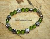 Green And Silver Celtic Knot Bracelet - Olive Green Bracelet - Czech Glass Beaded Bracelet - Green Glass - Irish Jewelry - St Patrick's Day