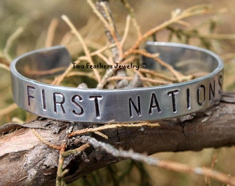 FIRST NATIONS - Hand Stamped Cuff Bracelet - Native American Inspired - Gift For Her - Non Tarnish Jewelry - Tribal Cuff - Two Feathers