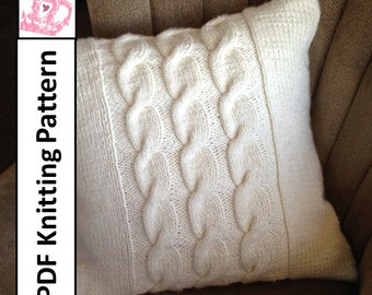 """PDF KNITTING PATTERN, Cable knit pillow cover, knit pillow cover pattern, 24""""x 24"""",  Chunky Cable knit pillow cover pattern"""