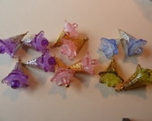 SALE  12  Lucite Icy  TRUMPET Flower Bead Charms for Your Artistic Creations