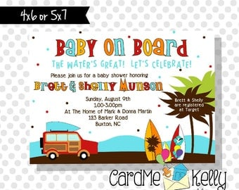 Printable 3 Designs Surfboard, Surf, Woody, Palm Tree, Hawaiian, Tropical, Baby Shower Invitation, Birthday, Printable Digital File