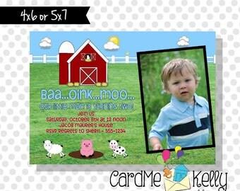 Printable Farm Animal Birthday Invitation Personalized Custom Photo - Digital File