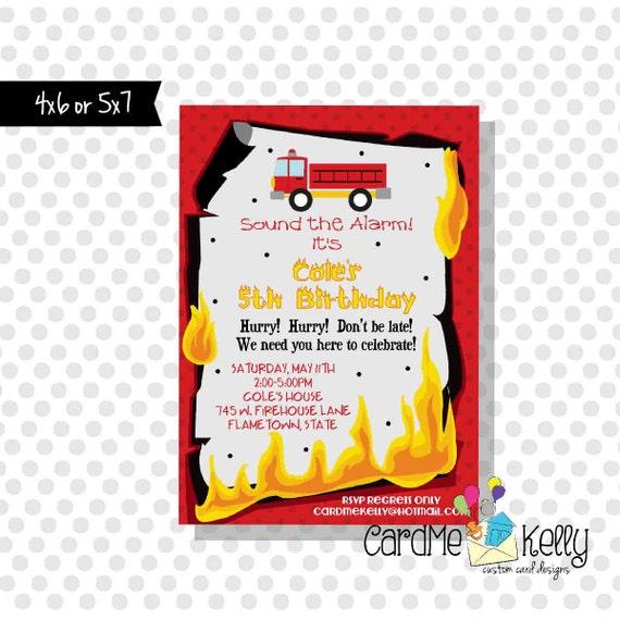 Flammes imprimable pompier Fire Truck anniversaire Invitation
