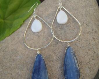Blue White Earrings - Kyanite & Shell Earrings - Sterling Silver Teardrop Earrings - Mother of Pearl - Long Dangle Earrings