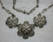 Vintage Filigree Necklace, Mexican Roses, Coin Silver