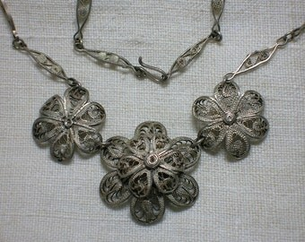 Vintage Filigree Necklace, Mexican Roses, Coin Silver. Floral, Roses, Flower