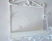 Vintage Chippy White Metal Wall Hung Shelf