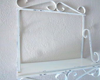 Vintage Chippy White Metal Wall Hung Shelf