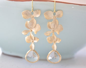 Gold Earrings, Dangling Orchid Earrings, Bridesmaid Jewelry, Bridesmaid gifts, Everyday Earrings