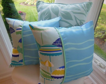 Beach Pillows - Set of 2 Designer Pillows - Beach Umbrella Decorative Reversible Pillows - 15 x 15 Inch - Royal Blue, Jade Green, Turquoise