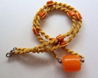 Macrame necklace, Tibetan necklace, ethnic, tribal, Tibetan amber, yellow orange
