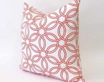 CORAL and WHITE pillow cover - self-backed zippered  - 16x16 and 12x16