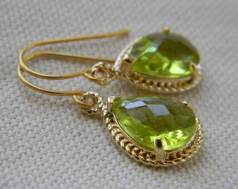 Green Peridot and Gold Dangle Earrings- Bridesmaid Earrings -Wedding Earrings-Gift For Her
