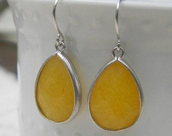 Lemon Yellow Earrings Trimmed in Silver-Drop Earrings-Dangle Earrings-Bridal