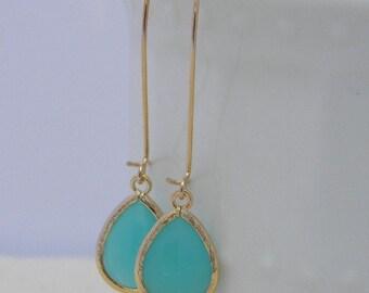 Mint Dangle Earrings- Aqua Dangle Earrings - Gold Wrapped Glass Teardrop - Bridesmaids Jewelry-Bridal Jewelry-Wedding Jewelry- Mint Earrings