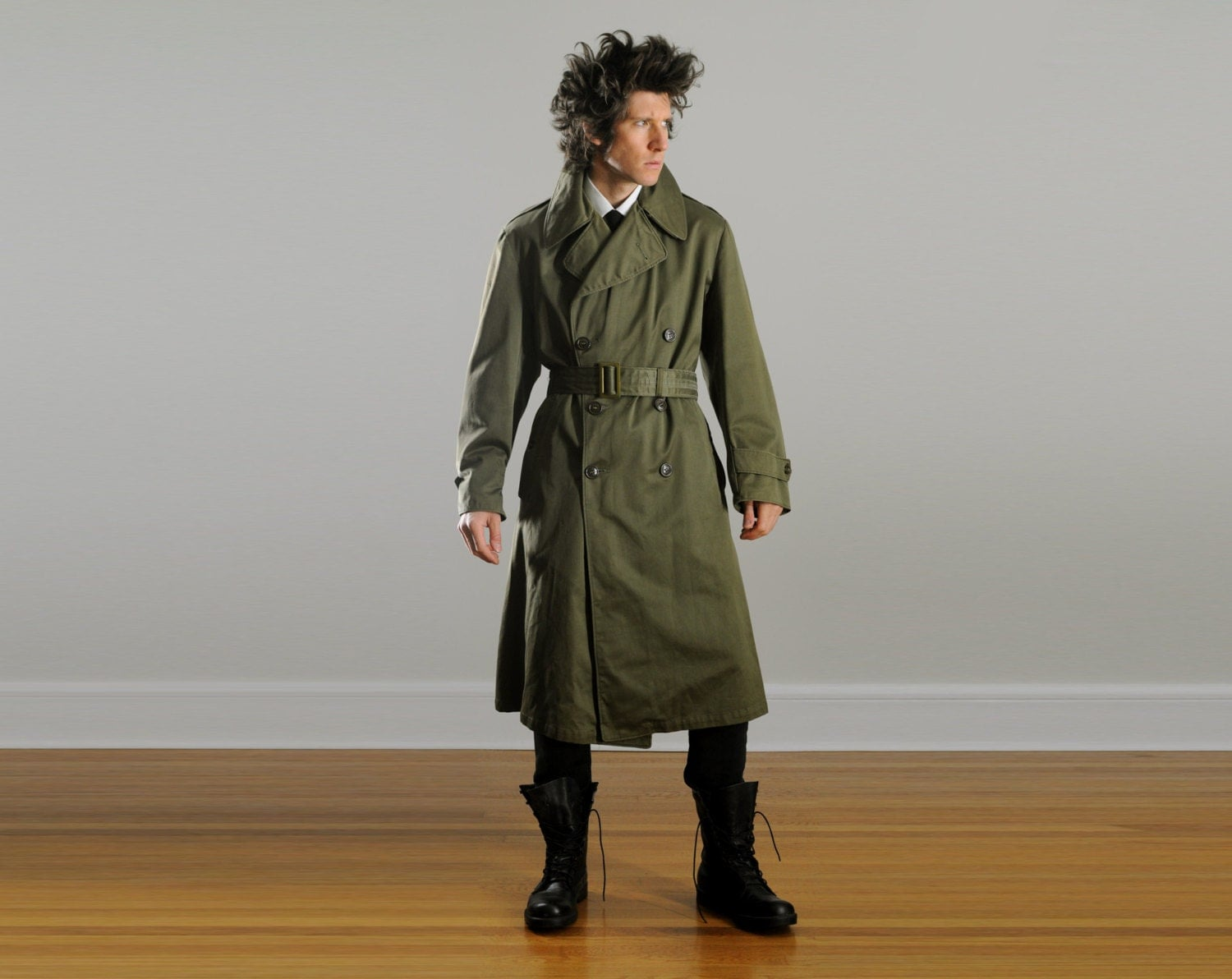 Vintage Military Trench Coat Army Drab Green Belted Waist