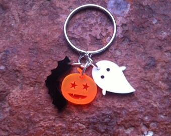 Tiny Halloween laser cut acrylic charm ring