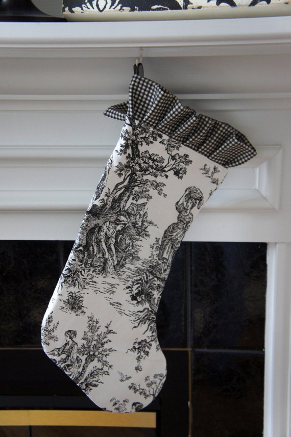 Christmas Stocking ~ Black and White Toile, Ruffle