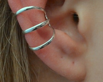 Three Band Wide Spaced Ear Cuff - Sterling Silver -  SINGLE SIDE