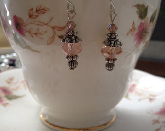 Pretty pink crystal dangle earrings