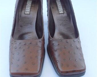 Vintage Dark Brown Ladies Leather Shoes Faux Ostrich Brown Shoes Vintage Brown Shoes Vintage Nickels Ladies Pumps Size 8 Vintage Ladies Pump