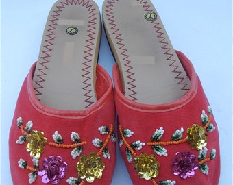 Vintage Red Slippers Vintage Red Chinese Slippers Vintage Flower Sequined Slippers Red Cotton Slippers Vtg Bead Red Shoes Ladies Shoe Size 7