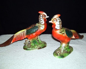 Vintage Figurines Multi Colored Long Tail Pheasants Birds Foil Label MIJ