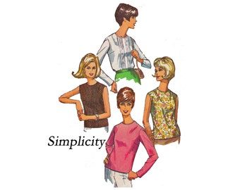 Misses Set of Blouses size 16 Bust 36 1960s 60s Vintage Sewing Pattern Simplicity 6449 Sleeveless or long sleeves