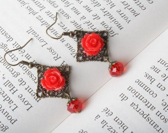 Red Rose earrings Bridesmaid earrings - red roses and crystal shabby-chic - cabochon jewelry - vintage earrings  Red flower- Made in  Canada