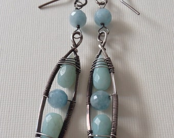 Silver wire wrapped earrings with amazonite and aquamarine beads - dangle earrings