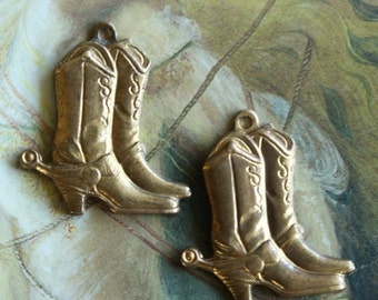 2 Vintage Old Brass Western Cowboy Boots and Spurs Pendants