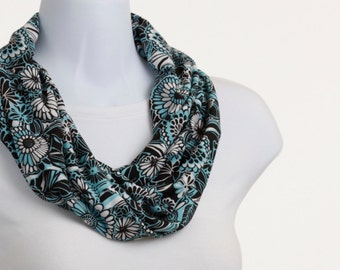 Short Infinity Scarf - Cockatoo Green, White and Black in an Abstract Floral ~ K075-S1