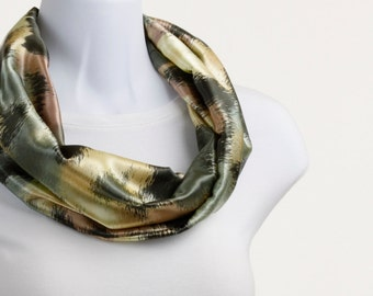 Silky Infinity Scarf -  Shades of Green, Bronze, Mauve and Yellow ~ SK136-S5