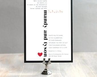 "Black and White Wedding Invitations, Modern City Wedding, Whimsical Invitations, Heart Invites, Urban Invitation, ""Modern Heart"" Sample"