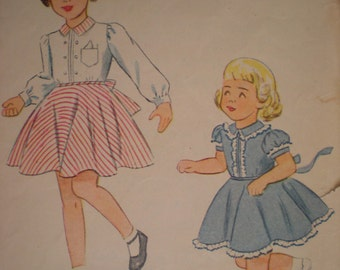 1948 Simplicity Girl's Dress Short or Long Sleeves Pattern 2654, Size 3