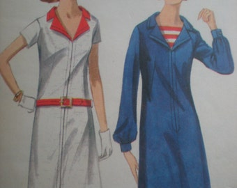 1960s Butterick Mod Sailor Dress with Notched Collar Sewing Pattern in 2 Styles 4134, Size 14, Bust 34