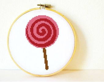Counted Cross stitch Pattern PDF. Instant download. Lollipop. Includes easy beginners instructions.