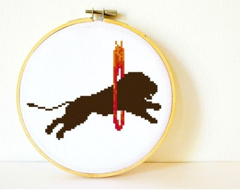 Counted Cross stitch Pattern PDF. Instant download. Circus Lion Silhouette. Includes easy beginner instructions.