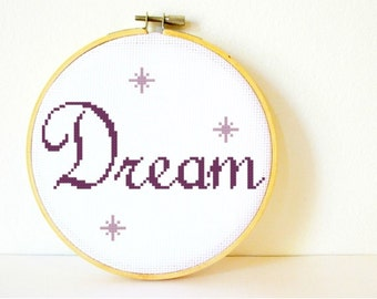 Counted Cross stitch Pattern PDF. Instant download. Dream. Includes easy beginner instructions.